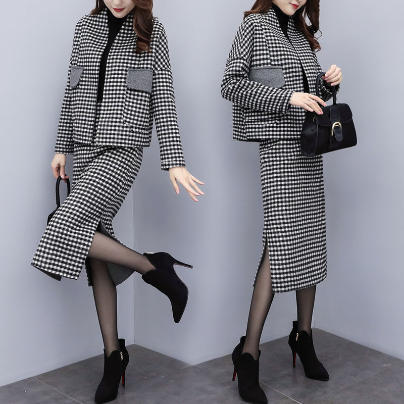 Office Laides Autumn Winter Designer Suit Set Women's Woolen Plaid Loose Coats Short Tops And Slim Long Skirt Suits Set NS968