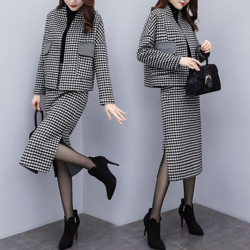 Office Laides Autumn Winter Designer Suit Set Women's Woolen Plaid Loose Coats Short Tops And Slim Long Skirt Suits Set NS968
