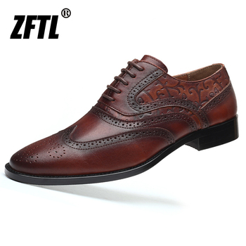 ZFTL Mens Oxford shoes dress man Business male genuine leather lace-up Carved Brock British style men