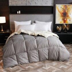 Solid Color White Goose/puch kaczy kołdry zagesccie Winter warm feather kołdry 100% pokrowiec bawełniany król królowa podwójne  pełne