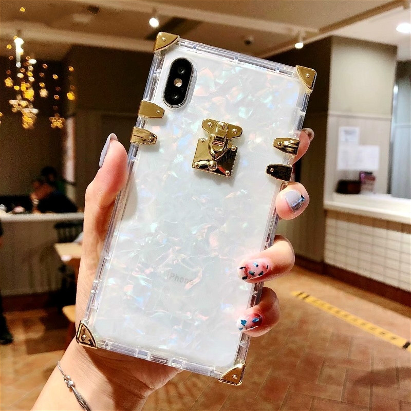 Square Women Metal Conch Transparent Phone Case For iPhone X Case Soft Silicon XS Max XR X 6 6s 7 8 Plus Cases Clear Back Cover in Fitted Cases from Cellphones Telecommunications