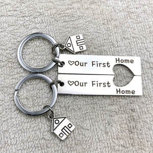 Simple Keychain Pendant-Accessories Key-Holder Porte Clef Letter-Color Our-First Home