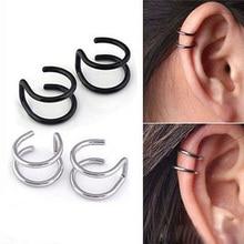 2pcs Double C Helix Piercing Oreja Fake Earrings Non-pierced Ear Cuff C