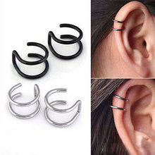 Fake Nose Stud Ring Hoop Goth Flesh Turk Punk Clip Wrap Earring Tragus Stainless Steel Ear Cuff Clip Piercing Body Jewelry PAIR(China)