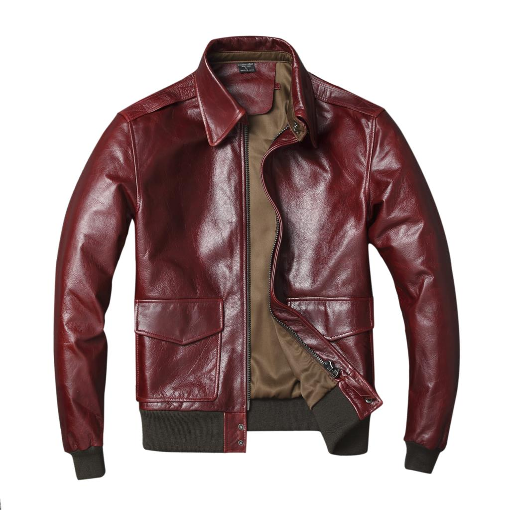 Genuine Leather Clothes MEN'S Outerwear Jacket Cowhide A2 Air Force Flight Suit Retro Napa Craft Suede Loose Wine Cow Leather