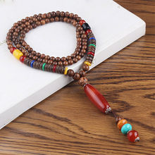 Vintage Wood Beaded Stone Pendants Ethnic Necklaces Statement Nepal Jewelry Long Necklace Men Women Accessories(China)