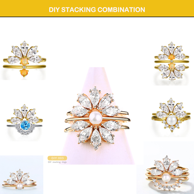 Dropshipping  925 Sterling Silver Rings For Women 5A Zircon Diamond Gemstones Real Gold Plated Designer jewelry Stackable Rings 2
