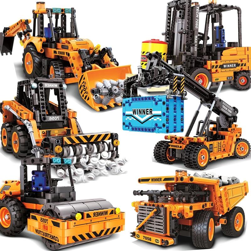 Engineering Vehicle Model Building Blocks Forklift Road Roller Crane Truck Wheel Excavator Mechanical Construction Toys