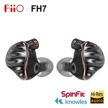 FIIO FH7 HIFI ב אוזן אוזניות חדש דגל 5 היברידי נהגים 4 נואלס BA + 13.6mm דינמי IEM עם MMCX להסרה כבל