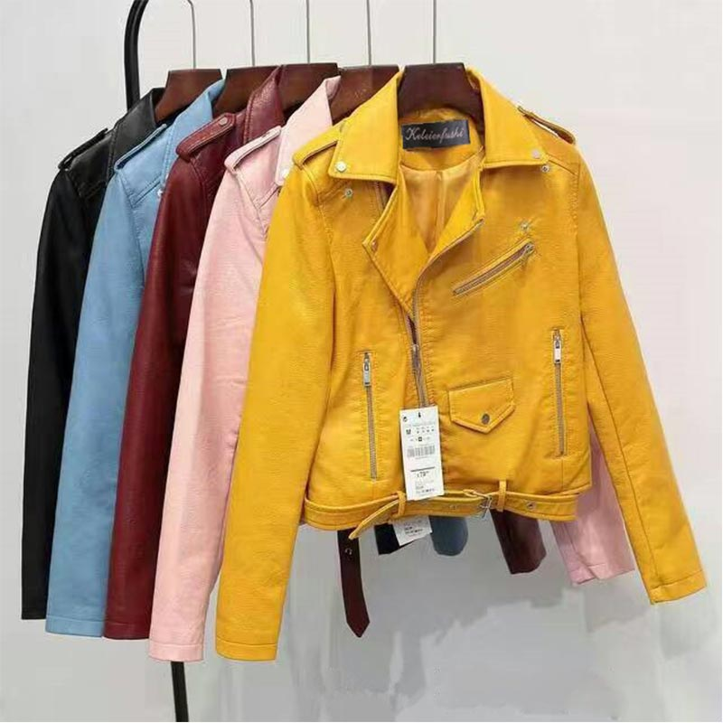 4 Colors 2019 New Faux Leather Autumn Women Ladies Basic Motorcycle PU Leather Street Coat Short Soft High Quality Zipper Jacket