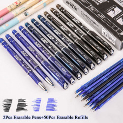 2+50Pcs/Set Blue Black Red Ink Erasable Pen 0.5mm Refills Gel Pens For Kids Girls Gifts School Office Supplies Stationery