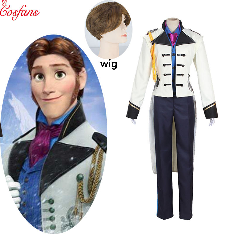 Adult Prince Elsa And Anna Hans Costume The Hans Costume Men Cosplay Fantasy Halloween Costumes For Women And Wig Custom Made