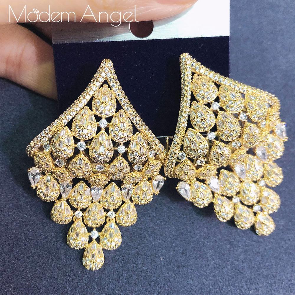 ModemAngel cubique zircone luxe soleil fleur forme longue cerceau boucles d'oreilles femmes mariage grandes boucles d'oreilles Bijoux Bijoux 2020