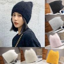 Женская вязаная зимняя шапка женская плотная одежда с заячьими