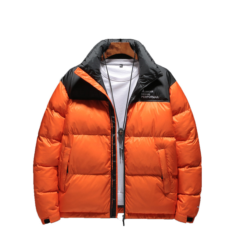New Fashion Men's Winter Parka Stand Collar Cotton Jacket Men Parka Color Matching Warm Coat Man Casual Park Clothes Youth
