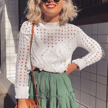 2019 Fashion White Hollow Out Sweaters and Pullovers Women Autumn Casual Thin Short Knit Tops Female High Street Chic Jumpers chic flower shape and hollow out embellished black and blue sunglasses for women
