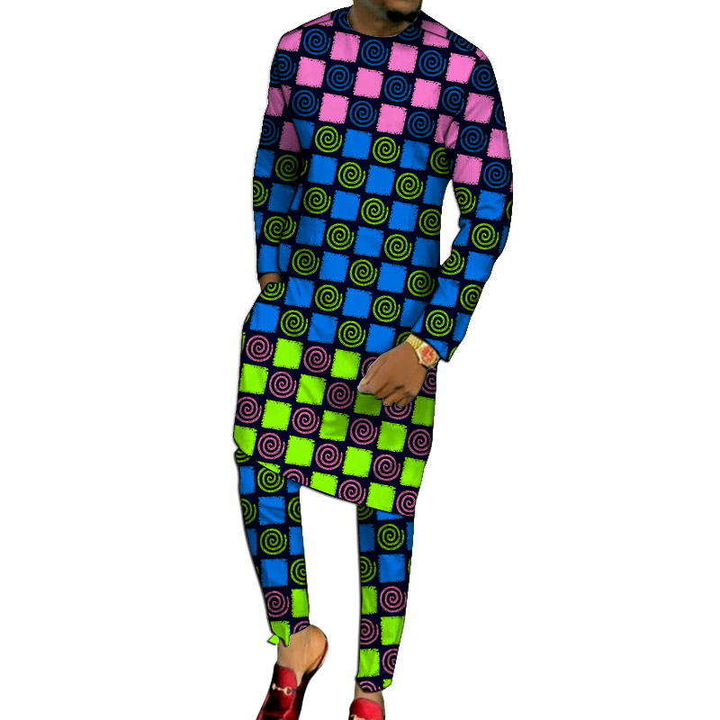African Clothes Man Long Shirts With Pants Fashion Patchwork Tops+Trousers Custom Made Men's Outfits African Pant Set For Party