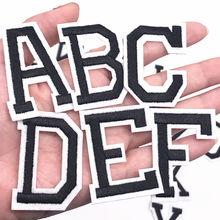 Lettres de l'alphabet anglais noir, 1 pièce, appliquer Patch de fer sur vêtements, Badge, pâte pour vêtements, sac, chaussures