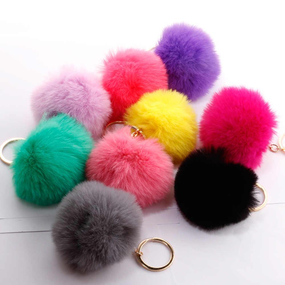 16 cores pompom De Pele Chaveiro Chaveiro Para O Saco Do Carro Falso Fur Fluffy Pompons Pele De Coelho Keychain Chaveiro