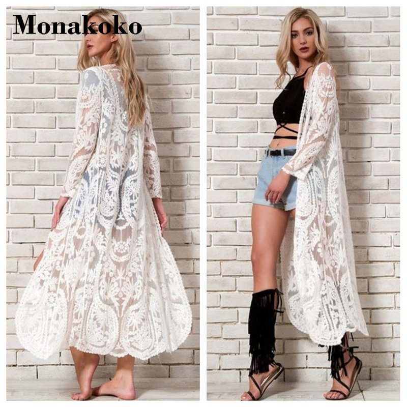 2019 White Cover Up Women Crochet Lace Cotton Long Beach Dress Swimsuit Cut Out Tunic Robe Bikini Capes Shawl Pareo Cover Ups