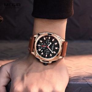 Image 4 - Megir カジュアルメンズ quarzt 腕時計ブラウンレザー防水腕時計男性高級スポーツクロノグラフ腕時計レロジオ masculino 2128