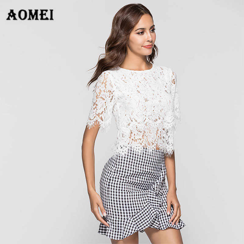 Vrouwen Lace Blouses Shirt Fashion Crop Tops Hollow Out Fringe See Through Wit Zwart Sexy Streetwear Zomer Bluas Casual Kleding