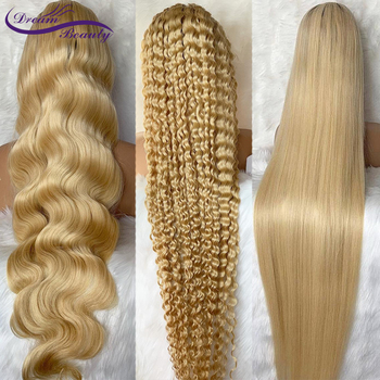 613 Blonde Lace Front Wig Body Wave/Deep Wave/Straight Transparent 13x6Lace Frontal Wig Remy Brazilian Lace Front Human Hair Wig image