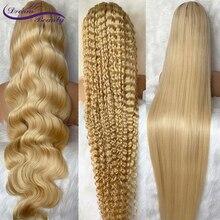 613 блондинка Синтетические волосы на кружеве парик объемная волна/глубокая волна/прямой прозрачный Синтетические волосы на кружеве al парик...