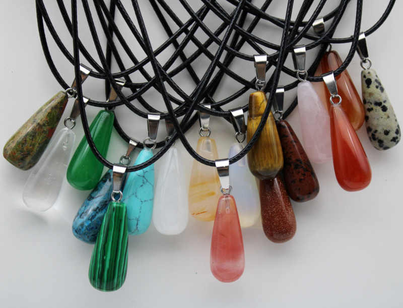 Venda por atacado de pedra natural ágatas gotas de Água de cristal de quartzo pingente para DIY Colar de turquesas pingente Jóias fazer