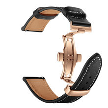 Ouhaobin Watch strap leather For Huawei GT Watch strap 22mm quick release Strap Band Gold Butterfly buckle 1016#2(China)