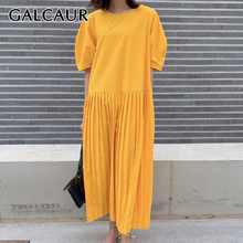 GALCAUR Patchwork Dress Women O Neck Short Sleeve Free Size Pleated Midi Summer