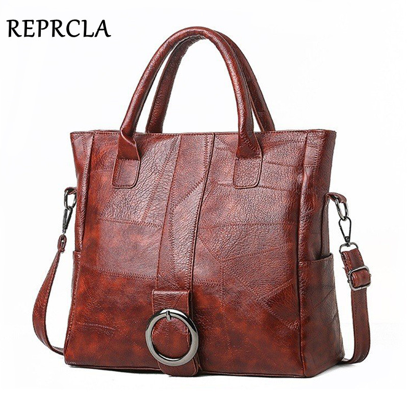 REPRCLA Large Capacity Handbag Fashion Women Shoulder Bag Tote Soft PU Leather Crossbody Bags Female Bolsa Feminina
