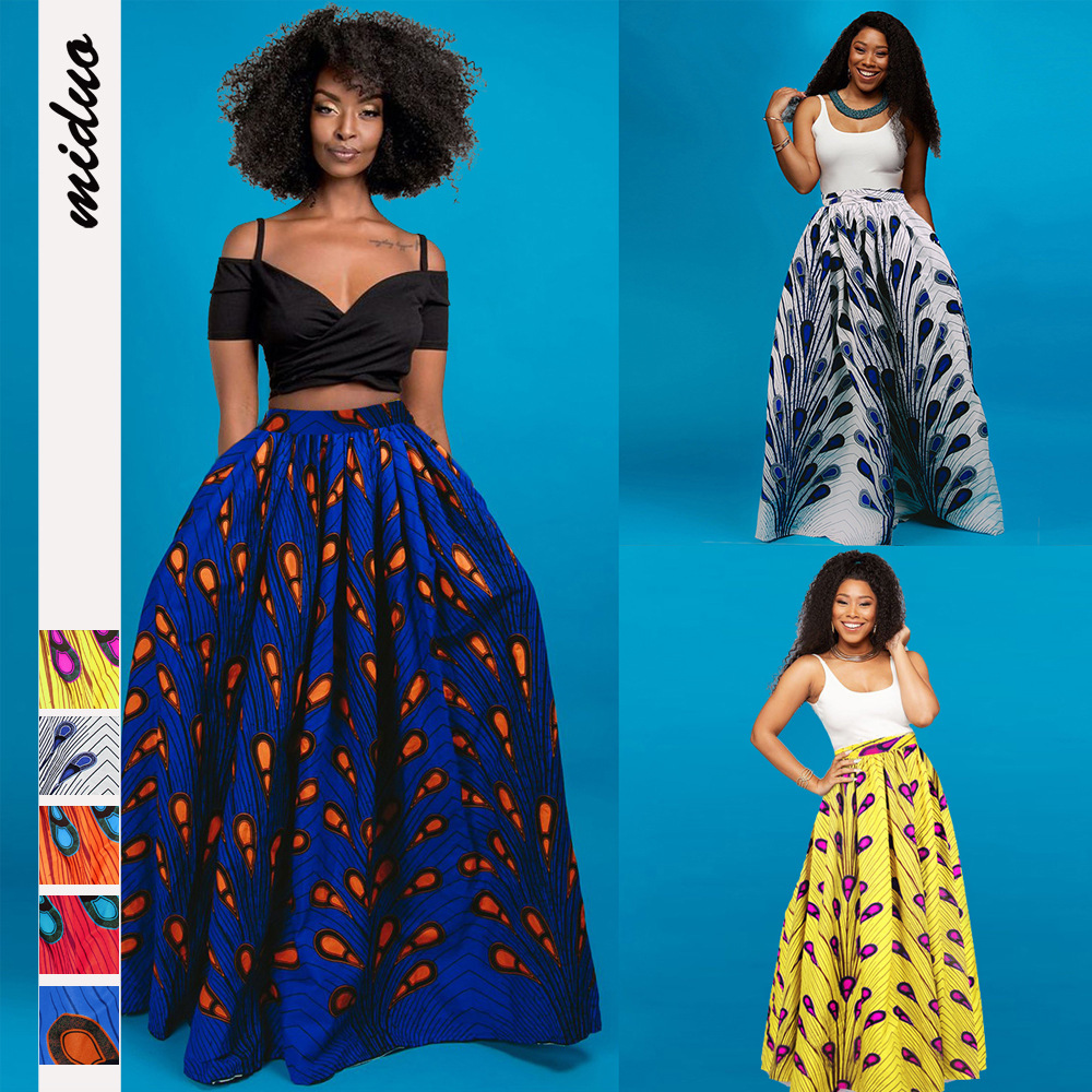 2020 Fashion African Women Skirt Summer Skirts Feather Digital Printing Floor-Length Elegant Vestidos High Waist Vintage Skirts
