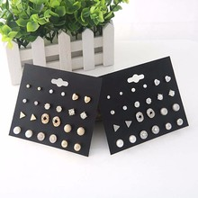 Women Fashion Pearl Earrings Jewelry Temperament Wild Korean Gold Silver GeometricStud Set For