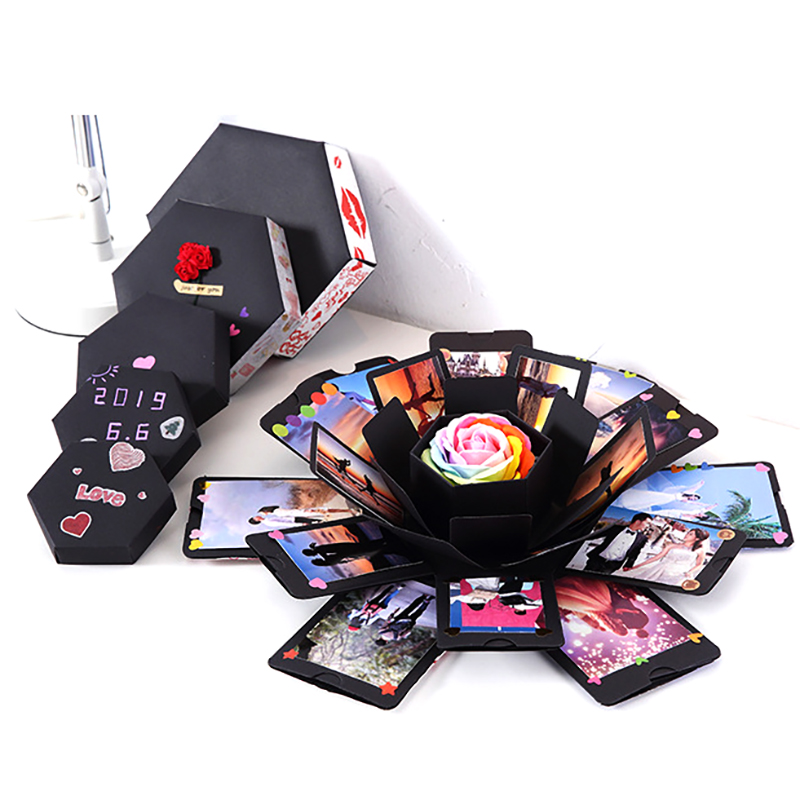 Hexagon Surprise Explosion Box DIY Handmade Scrapbook Photo Album Wedding Gift Box for Valentine Christmas Gift Boxes 4