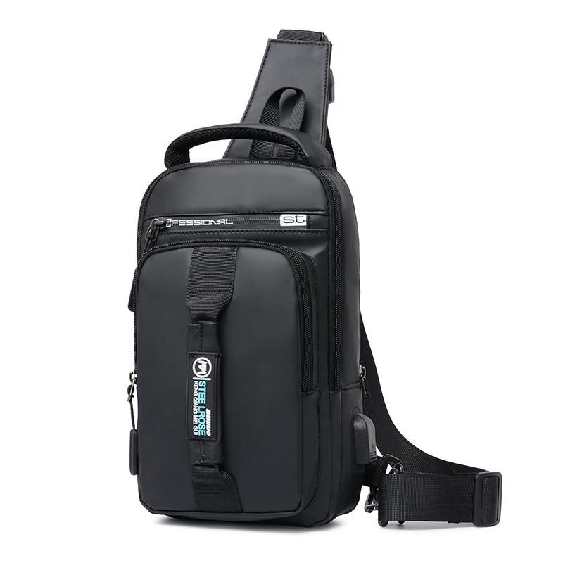 Top Crossbody Bags Men USB Charging Chest Pack Short Trip Messengers Chest Bag Water Repellent Shoulder Bag Male