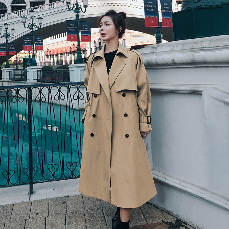 Women's Windbreaker Khaki 2021 Spring Autumn New Fashion Lapel Mid-Length Korean Loose Double Breasted All-Match Trench Coat 61M
