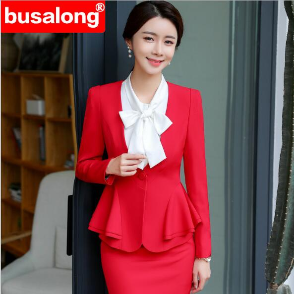 Autumn 2019 Red Women's Suit Dress Long-sleeve Ruffles Two Piece Set Business Office Ladies Clothes Set A Suit Jacket And Skirt