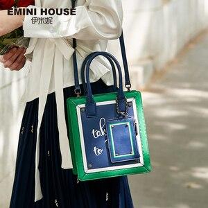 Image 1 - EMINI HOUSE Paris Series Tote Bag Split Leather Crossbody Bags For Women Shoulder Bags Luxury Handbags Women Bags Designer