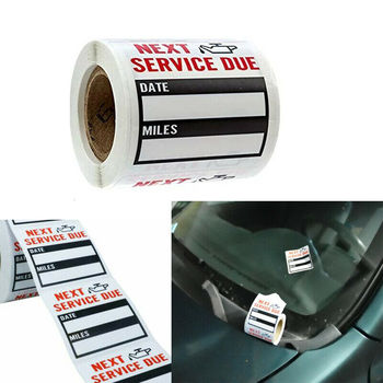 100pcs/roll Oil Change/Service Reminder Stickers Window Sticker Adhesive Labels Car Sticker Exterior Accessories Car Accessories image