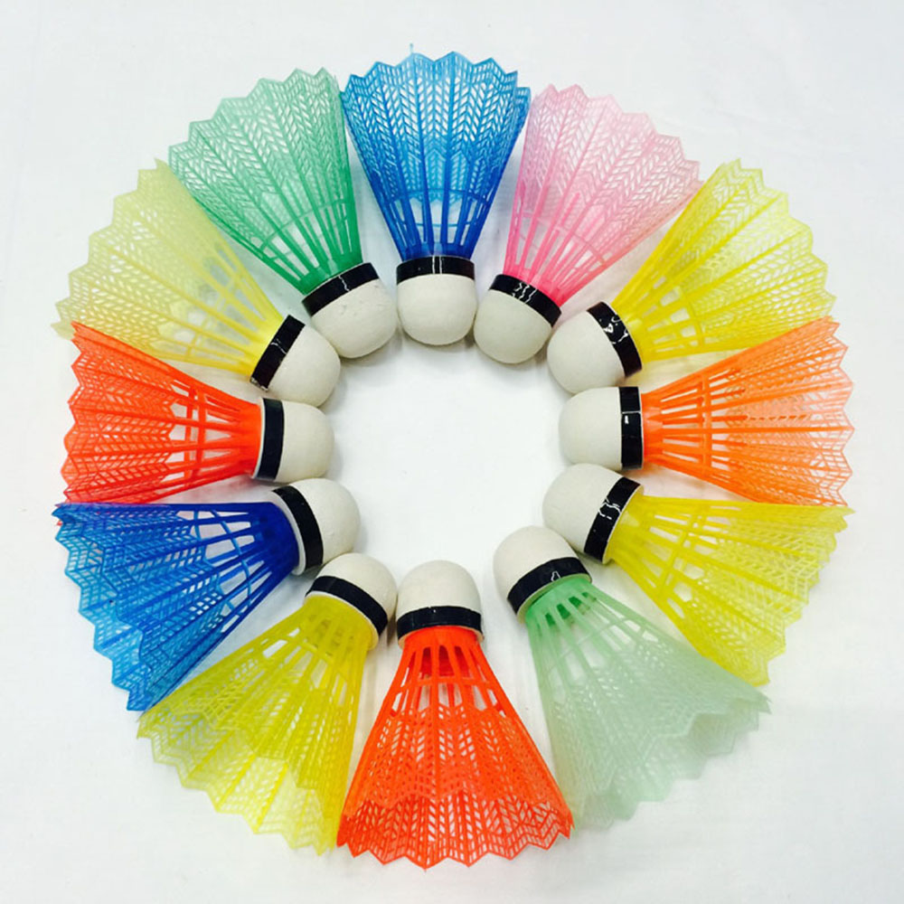 12pcs Colorful Plastic Badminton Balls Portable Shuttlecocks Products Sport Training Train Gym Fitness Outdoor Supplies Balls
