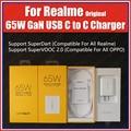VCU-чип 65 Вт, USB C на Type C, оригинальное зарядное устройство Realme SuperDart EU UK AU Для Realme X9 Pro 7 Pro X7 Q2 X50 Pro XT X3 C3 C15
