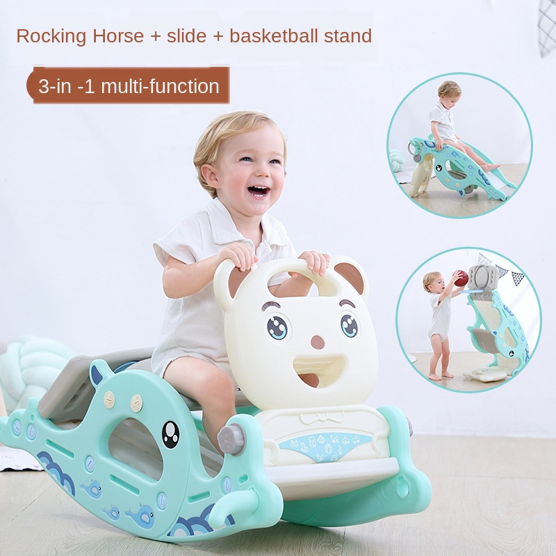 New Rocking Horse Slide Dual-Purpose 2-in-1 Children's Toys Baby Slide Ferrule Multi-Function Ride Toy Horse Kids Rocking Chair