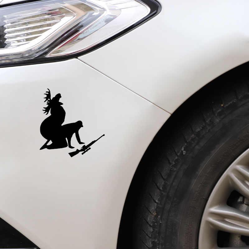 13*12 سنتيمتر الأيائل صياد شخصية ملصقات السيارات الشارات كيف يا مثل بلدي اللحوم الآن مضحك موس الصيد صياد أسود/فضي CT-600