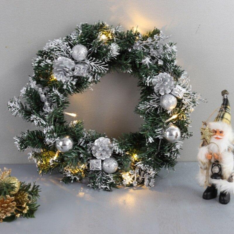 25/30/40cm LED Christmas Wreath With Artificial Pine Cones Berries And Flowers For Door Hanging Decoration Guirnalda Navidad