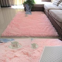 Fluffy plush carpet mat floor mat mat tea table mat pink living room princess European dormitory bed front carpet white