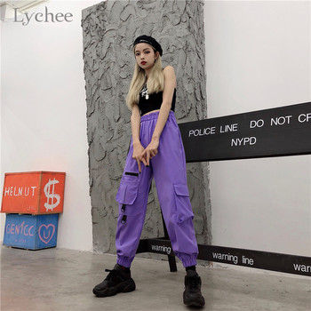 Lychee Harajuku Solid Buckle Women Pants Elastic Waist Pockets Female Jogger Pants Casual Loose Spring Autumn Lady Trousers 1