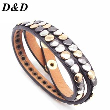 Bracelet for Multiple-Layers Bangle Charm Party-Jewelry Vintage Leather Wholesale Women