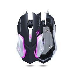 Nowość dla T-WOLF V5 mysz do gier przewodowa [2400 DPI] [światło oddechowe] USB myszy komputerowe RGB Gamer mysz gamingowa PC 4 przyciski na PC