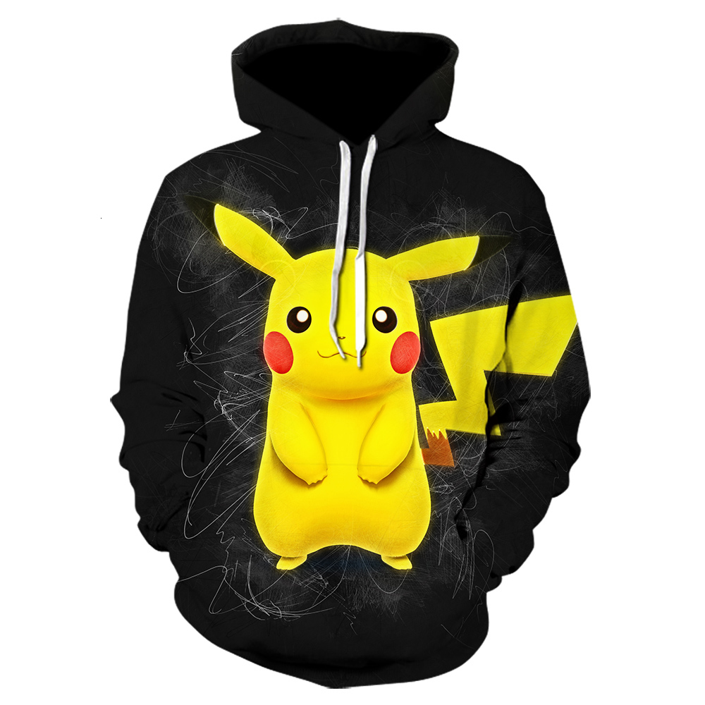 New 3D Printing Hoodie In Winter Haajuku Fashion Coat Cartoon Pokemon Hoodies Anime Pikachu Leisure Sweatshirt Black Jacket